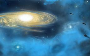 Картинка звезды, свет, туманность, планеты, world, НЛО, Космос, галактика, space, light, star, космические корабли, UFO