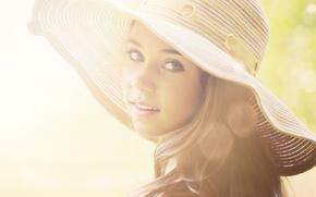 Картинка взгляд, девушка, портрет, шляпка