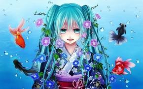 Картинка рыбка, аниме, арт, Hatsune Miku, вокалоид