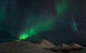 Картинка небо, звезды, горы, северное сияние, Норвегия