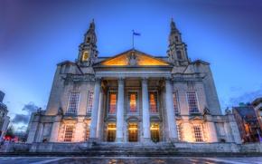 Картинка ночь, Великобритания, United, Leeds, Kingdom, Civic Hall