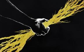 Обои рука, энергия, молния, сила, арт