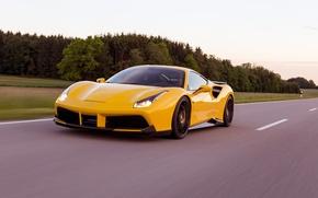 Обои скорость, Rosso, supercar, дорога, Ferrari, Novitec, speed, 488 GTB, машина, road