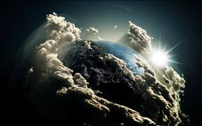 Картинка небо, солнце, Земля, комос