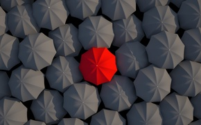 Картинка зонтики, red, black, umbrella