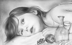 Картинка девочка, лежит, взгляд, карандаш, ребенок, живопись, лицо, яблоко, виноград