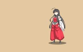 Картинка взгляд, девушка, одежда, минимализм, аниме, стоит, длинные волосы, желтый фон, боевая, fighting, mugen, темные волосы, ...