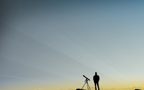 Обои утро, вектор, Телескоп, человек