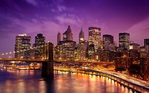 Картинка ночь, мост, город, огни, набережная, иллюминация