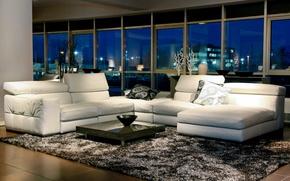 Картинка комната, диван, окна, столик, ковер.