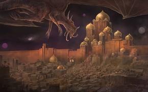 Обои дракон. полет, фантастика, ночь, крылья, арт