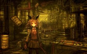 Картинка девушка, завод, аниме, ключ, арт, бант, ушки, бочки, lm7