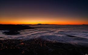 Картинка зима, огни, рассвет, Туман, горизонт