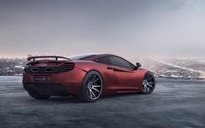 Картинка красный, город, ночные огни, McLaren, горизонт, суперкар, red, мегаполис, MP4-12C, макларен
