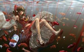 Картинка арт, под водой, аниме, рыбки, фонарик, нити, hakurei reimu, luomo, бант, девушка, touhou