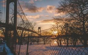 Обои снег, Бронкс-Уайтстон моста, зима, Бронкс, Нью-Йорк, Ист-Ривер, Соединенные Штаты, забор, Квинс, Лонг-Айленд, солнце, река, облака, ...