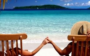 лето, море, отдых, пляж, остров, он, она, руки, шляпы, красота обои
