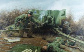 Картинка солдаты, пушка, Germany, 1944, Bourheim, November 26, Lightning at Bourheim by Larry Selman