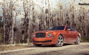 Картинка Bentley, Top Gear, Orange, Speed, Road, Ligth, Mulsanne