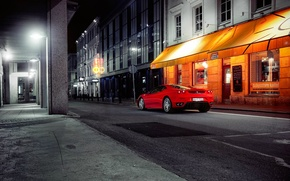 Картинка город, улица, вечер, феррари, красная, ferrari f430