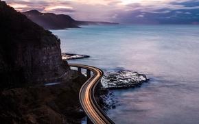 Обои побережье, океан, камни, скалы, трасса