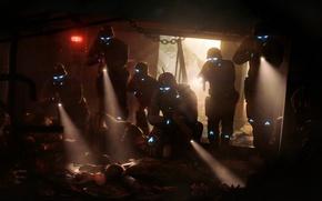 Картинка спецназ, смерть, трупы, шлем, кровь, страх, темно, фонарь
