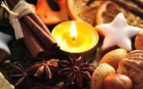 Обои праздник, новый год, еда, свеча, печенье, сладости, декорации, орехи, корица, happy new year, christmas decoration, ...