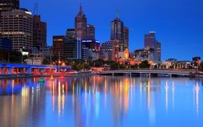 Картинка ночь, огни, города, Австралия, Melbourne, большого, Мельбурн