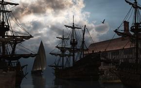 Обои корабль, вода, облака, порт