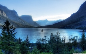 Картинка forest, trees, nature, mountains, lake, island, morning, Glacier National Park
