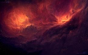 Картинка космос, звезды, облака, арт