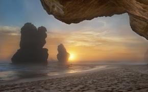 Картинка море, утро, скалы, пляж, туман