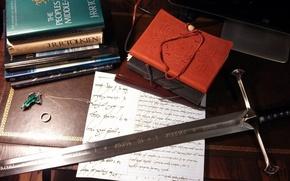 Картинка книги, sword, Властелин Колец, Дж. Р. Р. Толкин, The Lord of the Rings, books, брошь, ...