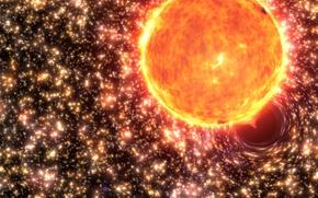 Картинка звезда, black hole, чёрная дыра, agujero negro, поглощение, шаровое скопление