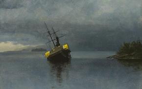 Картинка пейзаж, корабль, картина, Альберт Бирштадт, Гибель Анконе