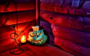 Картинка halloween, cigarette, pumpkin, candle, hut