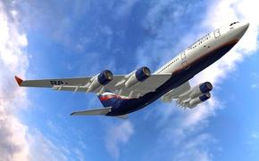 Картинка небо, двигатель, крылья, полёт, самолёт, взлёт, пассажирский, Ильюшин, Ил-96