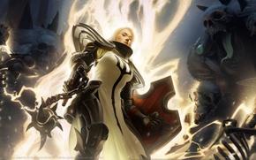 Обои Ji Hun Lee, Fist of Heavens, оружие, черепа, game wallpapers, палица, доспехи, скелеты, Диабло 3, ...