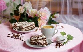Картинка уют, тепло, настроение, розовый, кофе, завтрак, утро, торт, пирожное, десерт, сладкое