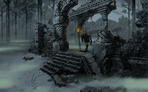 Картинка лес, туман, существо, рога, факел, руины, нечисть, Primal