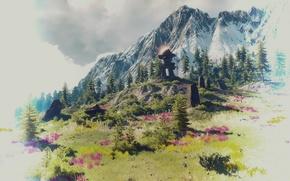 Обои пейзаж, камни, гора, The Witcher 3