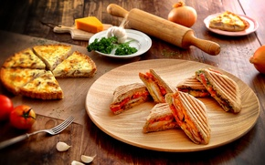 Картинка vegetables, овощи, fresh herbs, бутерброды, пицца, pizza, зелень, sandwiches