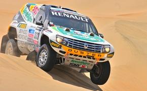 Картинка Песок, Спорт, Renault, Джип, Rally, Dakar, Дакар, Внедорожник, Ралли, Передок