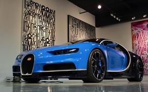 Картинка Bugatti, Blue, Black, Chiron