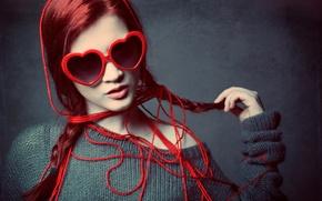 Картинка девушка, фон, очки