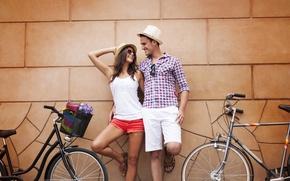 Картинка любовь, радость, счастье, пара, велосипеды