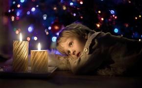 Картинка настроение, праздник, свечи, малчик