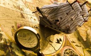 Картинка корабль, размытость, лупа, путешествие, боке, композиция, travel, wallpaper., ancient map, древняя карта, мореплавательная