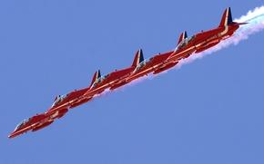 Картинка Flying, Red Arrows, BaE Hawk, Aerobatic, Formation Flying