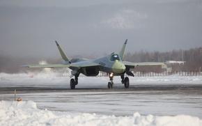 Картинка зима, снег, аэродром, Т-50, Российский, ПАК ФА, ОАК, многоцелевой истребитель, пятого поколения, ОКБ имени П.О. …